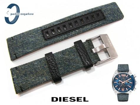 Pasek DIESEL DZ4374 skórzano-materiałowy wzór jeans