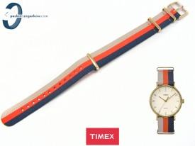 Pasek Timex TW2P91600 parciany jednoczęściowy 18 mm beżowo-granatowo-pomarańczowy