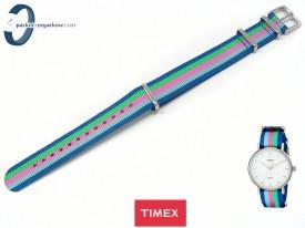 Pasek Timex TW2P91700 parciany jednoczęściowy 18 mm granatowo-niebiesko-zielono-różowy