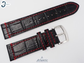 Pasek Atlantic skórzany czarny 23 mm czerwona nić