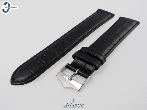 Pasek Atlantic 20 mm czarny matowy srebrna klamra