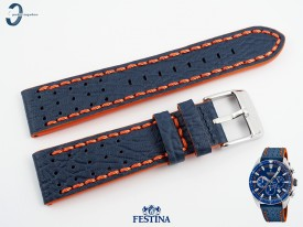 Pasek Festina F20377 skórzany granatowo-pomarańczowy 22 mm