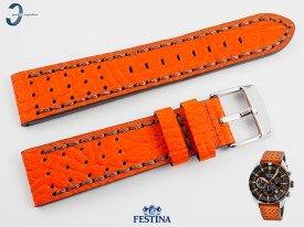 Pasek Festina F20377 skórzany pomarańczowo-szary 22 mm