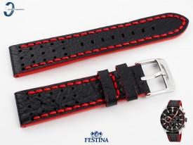 Pasek Festina F20377 skórzany czarno-czerwony 22 mm