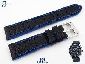 Pasek Festina F20377 skórzany czarno-niebieski 22 mm
