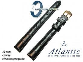 Pasek Atlantic 12mm - Czarny - Sprzączka w kolorze złotym