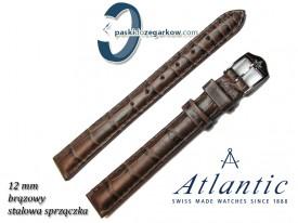 Pasek Atlantic 12mm - Brązowy - Sprzączka w kolorze srebrnym