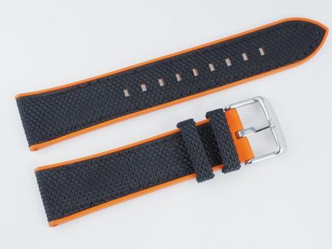 Pasek MORELLATO NET materiałowo-gumowy czarno-pomarańczowy 22 mm