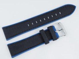 Pasek MORELLATO NET materiałowo-gumowy czarno-niebieski 20 mm