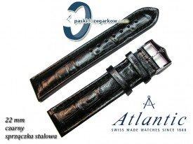 Pasek Atlantic 22mm - Czarny - Sprzączka stalowa