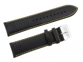 Pasek do zegarka Lorus skórzany 24 mm czarny żółta nić