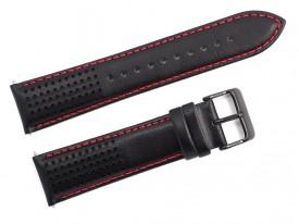 Pasek do zegarka Lorus skórzany 22 mm czarny czerwona nić