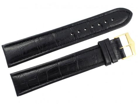 Pasek Atlantic 22 mm czarny złota klamra XL