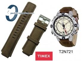 T2N721 - pasek skórzany nubuk - brązowy