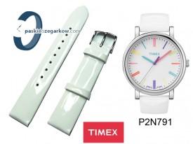 T2N791 - Pasek skórzany, biały lakier, 18mm