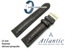 Pasek Atlantic 21mm brązowy sprzączka w kolorze złotym
