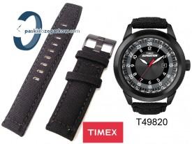 Pasek Timex T49820, 22mm, skórzano-parciany czarny