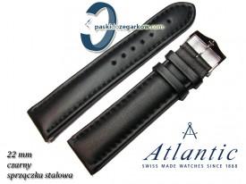 Pasek Atlantic 22mm - Czarny, gładki - Sprzączka stalowa