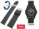 Pasek Timex 20mm - skórzano-materiałowy, czarny z szarym przeszyciem T49689