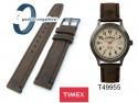 Pasek skórzany Timex - 18mm - brązowy - T49955