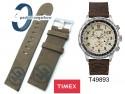 Pasek Timex - skórzany (nubuk) brązowy - 22mm - T49893