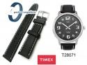 Pasek Timex - skórzany, 20mm , czarny z białym przeszyciem - T28071