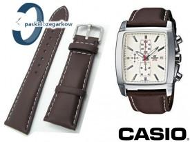 Pasek Casio EF-509 - skórzany, 25mm, ciemny brąz z białym przeszyciem