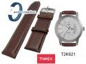 Pasek skórzany Timex - brązowy - 22mm - T2K621