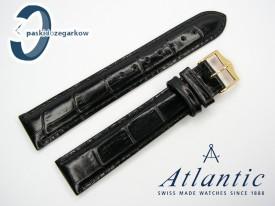 Atlantic 18 mm, czarny, sprzączka w kolorze złotym