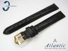 Pasek Atlantic 14 mm czarny sprzączka w kolorze złotym