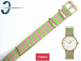 Pasek Timex TW2P91800 parciany 18 mm jednoczęściowy różowo-zielony