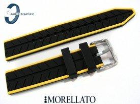 Pasek Morellato SESIA silikonowy 20 mm czarny żółty akcent