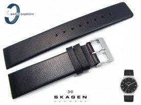 Pasek do zegarka SKAGEN SKW6104 skórzany czarny