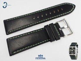 Pasek do Festina F16259 skórzany czarny zielone przeszycie 25 mm