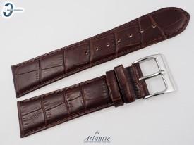 Pasek Atlantic 24 mm skórzany brązowy srebrna klamra