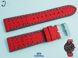 Pasek Festina F20377 skórzany czerwono-szary 22 mm