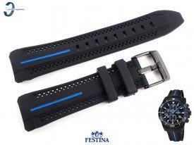 Pasek Festina F20366 czarny gumowy niebieski akcent
