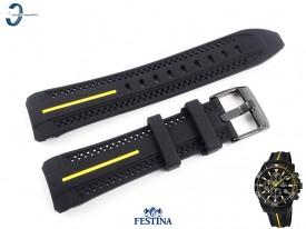 Pasek Festina F20366 czarny gumowy żółty akcent