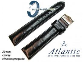 Pasek Atlantic 20mm - Czarny - Sprzączka w kolorze złotym