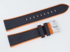Pasek MORELLATO NET materiałowo-gumowy czarno-pomarańczowy 20 mm