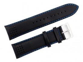 Pasek do zegarka skórzany 24 mm czarny niebieska nić
