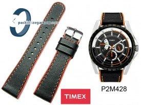 Pasek Timex - 22mm - Czarny, pomarańczowe obszycie