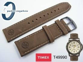 Pasek do zegarka Timex T49990 nubuk brąz 22 mm