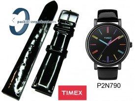T2N790 - Pasek skórzany, czarny lakier 18mm