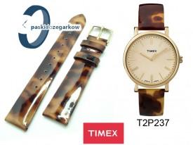 Pasek Timex - Skórzany, lakierek, panterka 18mm